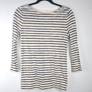 🐑 J. Crew Blue & White Stripe Shirt, XS.